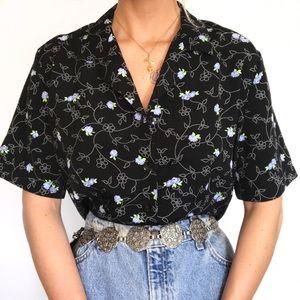 Vintage · charcoal floral button down blouse